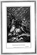 The Plague of Rain and Hail', one of the Seven Plagues of Egypt. 'Bible' Exodus 9.18. Engraving by English designer and engraver James Caldwall (1739-c1789) after the French designer and engraver Clement Pierre Marillier (1740-1808).
