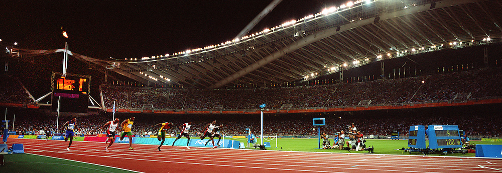 A panoramic image of Justin Gatlin of the United States wining the Men's 100m Final in a time of 9.85 at the Olympic Stadium during the Athens 2004 Olympic Games in Athens, Greece on August 22, 2004. Photo Tim Clayton