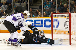 April 4, 2011; San Jose, CA, USA;  Los Angeles Kings center Michal Handzus (26) scores a goal past San Jose Sharks goalie Antti Niemi (31) during the second period at HP Pavilion. Mandatory Credit: Jason O. Watson / US PRESSWIRE