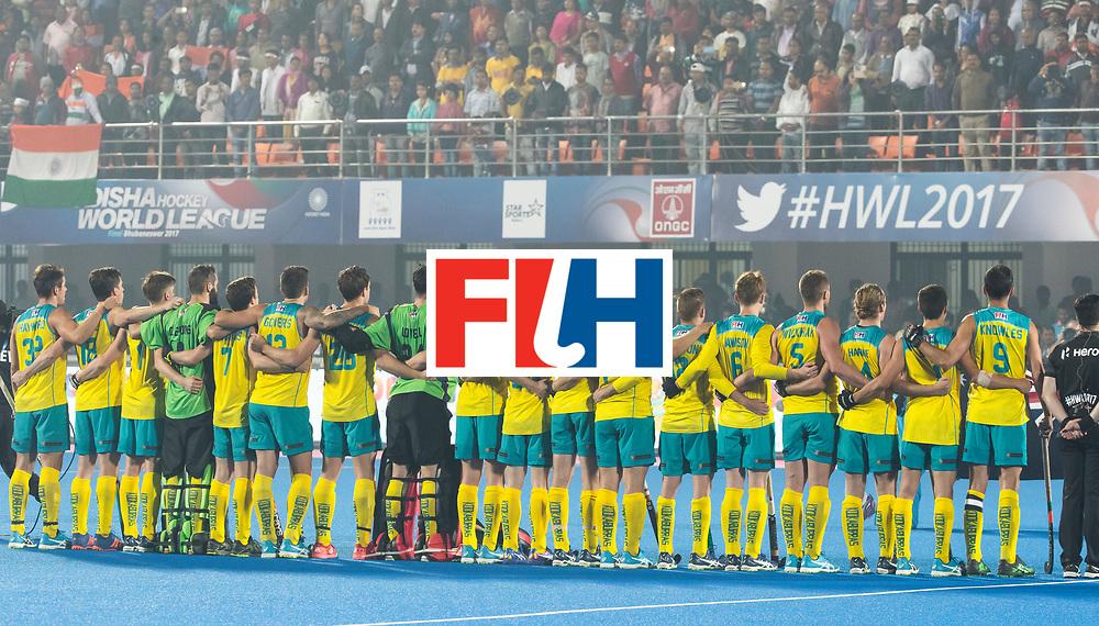 BHUBANESWAR - The Odisha Men's Hockey World League Final . Match ID 02. Australia v India. Team Australia. WORLDSPORTPICS COPYRIGHT  KOEN SUYK