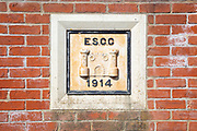 East Suffolk County Council sign dated 1914 on bridge at Mendham, Suffolk, England, UK