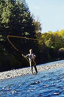 Man fly fishing in river Washington USA&#xA;<br />
