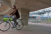 Man Rides on one of Bogota's 330km of bicycle lanes - Bicycle Culture - Bogota -Colombia