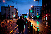 """The tram stop """"Biskupcova"""" street in Prague Zizkov during an early morning and after the Coronavirus pandemic (COVID-19) outbreak - pictured on the 11th of March 2020."""