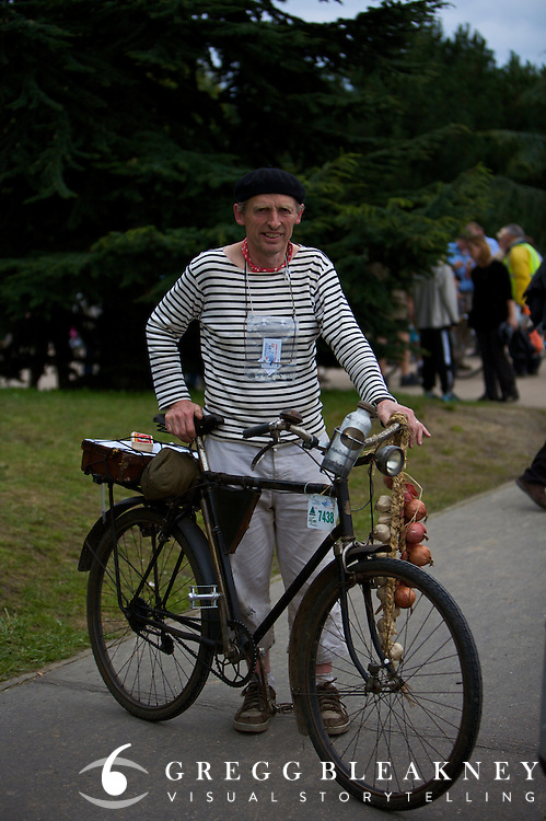 Retro Direct Cyclist Participating in Paris Brest Paris Ultra Endurance Race - France - Retro-Direct is a gearing mechanism that was included on some bicycles built in the early 20th century. Retro-Direct allows a different gearing when the cyclist pedals backwards