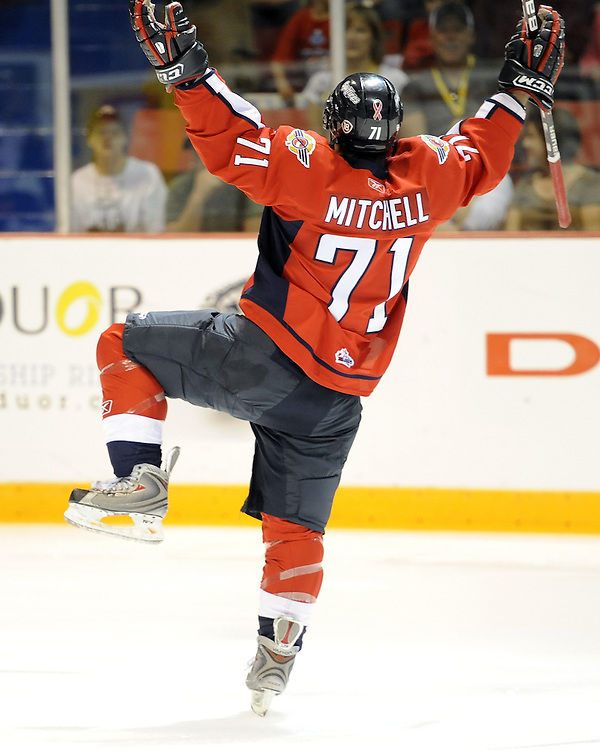 Dale Mitchell of the Windsor Spitfires celebrates a goal in Game 4 of the 2010 MasterCard Memorial Cup in Brandon, MB on Monday May 17. Photo by Aaron Bell/CHL Images