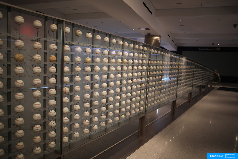 A display of baseballs signed by Yankees players past and present inside the Yankee Museum at Yankee Stadium, The Bronx, New York.  Photo Tim Clayton