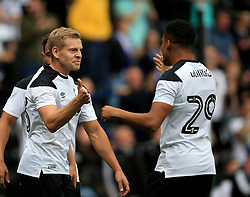 Derby County's Matej Vydra (Left) celebrates after he scores the first goal of the game for his side.