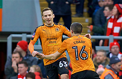 LIVERPOOL, ENGLAND - Saturday, January 28, 2017: Wolverhampton Wanderers' Andreas Weimann celebrates scoring the second goal against Liverpool during the FA Cup 4th Round match at Anfield. (Pic by David Rawcliffe/Propaganda)