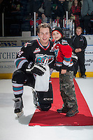 KELOWNA, CANADA - DECEMBER 4: Tyson Baillie #24 of Kelowna Rockets accepts the second star of the game against the Medicine Hat Tigers on December 4, 2015 at Prospera Place in Kelowna, British Columbia, Canada.  (Photo by Marissa Baecker/Shoot the Breeze)  *** Local Caption *** Tyson Baillie;