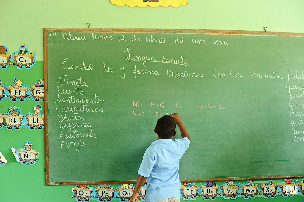 Dominican children learning in a classroom in Cabrera, next to Playa Grande, 120 km east of Puerto Plata.