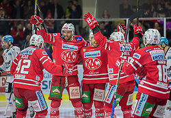 08.03.2020, Stadthalle, Klagenfurt, AUT, EBEL, EC KAC vs EHC Liwest Black Wings Linz, Viertelfinale, 3. Spiel, im Bild Roc TICAR (EC KAC, #42), David FISCHER (EC KAC, #3), Andrew KOZEK (EC KAC, #10), Mathew NEAL (EC KAC, #50), Thomas KOCH (EC KAC, #18) // during the Erste Bank Eishockey League 3rd quarterfinal match between EC KAC and EHC Liwest Black Wings Linz at the Stadthalle in Klagenfurt, Austria on 2020/03/08. EXPA Pictures © 2020, PhotoCredit: EXPA/ Gert Steinthaler