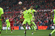 Brighton striker, Tomer Hemed (10)  and Brighton striker (on loan from Manchester United), James Wilson (21) tussle for the ball during the Sky Bet Championship match between Middlesbrough and Brighton and Hove Albion at the Riverside Stadium, Middlesbrough, England on 7 May 2016. Photo by Simon Davies.