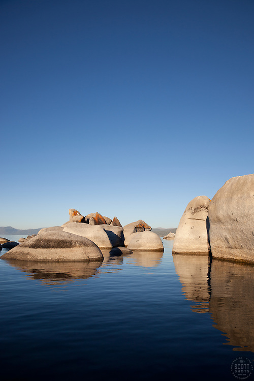 """Boulders at Lake Tahoe 3"" - These boulders were photographed from a kayak early in the morning at Lake Tahoe, near Speed Boat Beach."