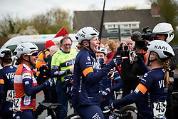 Mieke Kröger (GER) catches up with her teammates at Healthy Ageing Tour 2019 - Stage 2, a 134.4 km road race starting and finishing in Surhuisterveen, Netherlands on April 11, 2019. Photo by Sean Robinson/velofocus.com