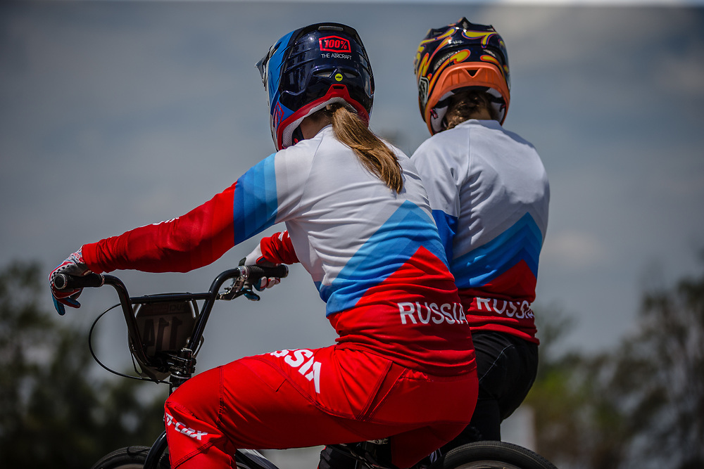 Team Russia during practice at round 1 of the 2018 UCI BMX Supercross World Cup in Santiago del Estero, Argentina.