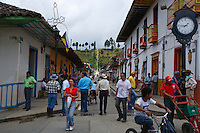 A lively street scene in Salento, Quindio ,Colombia