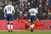 GOAL 2-0 Tottenham Hotspur goalkeeper Paulo Gazzaniga jumps the wrong way for Crystal Palace midfielder Andros Townsend (10) penalty, (22) during The FA Cup fourth round match between Crystal Palace and Tottenham Hotspur at Selhurst Park, London, England on 27 January 2019.