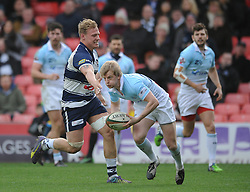 Bristol Rugby Number 8, Mitch Eadie challenges Bedford Blues replacement Peter White  - Photo mandatory by-line: Dougie Allward/JMP - Mobile: 07966 386802 - 29/03/2015 - SPORT - Rugby - Bristol - Ashton Gate - Bristol Rugby v Bedford Blues - Greene King IPA Championship