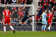 Save from Sunderland goalkeeper Jason Steele (1)  during the The FA Cup 3rd round match between Middlesbrough and Sunderland at the Riverside Stadium, Middlesbrough, England on 6 January 2018. Photo by Simon Davies.