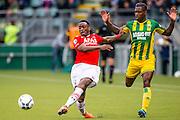DEN HAAG - 21-04-2016, ADO Den Haag - AZ, Kyocera Stadion, AZ speler Ridgeciano Haps, ADO Den Haag speler Ruben Schaken.