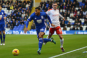 Birmingham City midfielder David Davis (26) takes on Barnsley midfielder Josh Scowen (6) 0-0 during the EFL Sky Bet Championship match between Birmingham City and Barnsley at St Andrews, Birmingham, England on 3 December 2016. Photo by Alan Franklin.