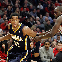 16 April 2011: Indiana Pacers small forward Danny Granger (33) drives past Chicago Bulls small forward Luol Deng (9) during the Chicago Bulls 104-99 victory over the Indiana Pacers, during the game 1 of the Eastern Conference first round at the United Center, Chicago, Illinois, USA.