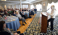Former CIA operative Valerie Plame addresses the crowd at the Huntingdon Valley Library's spring author brunch and luncheon Sunday, April 10, 2016 at Philmont Country Club in Huntingdon Valley, Pennsylvania.  (Photo by William Thomas Cain)