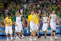 Team of Lithuania finished with the last game at the EuroBasket 2009 Group F match between Serbia and Lithuania, on September 16, 2009 in Arena Lodz, Hala Sportowa, Lodz, Poland.  (Photo by Vid Ponikvar / Sportida)