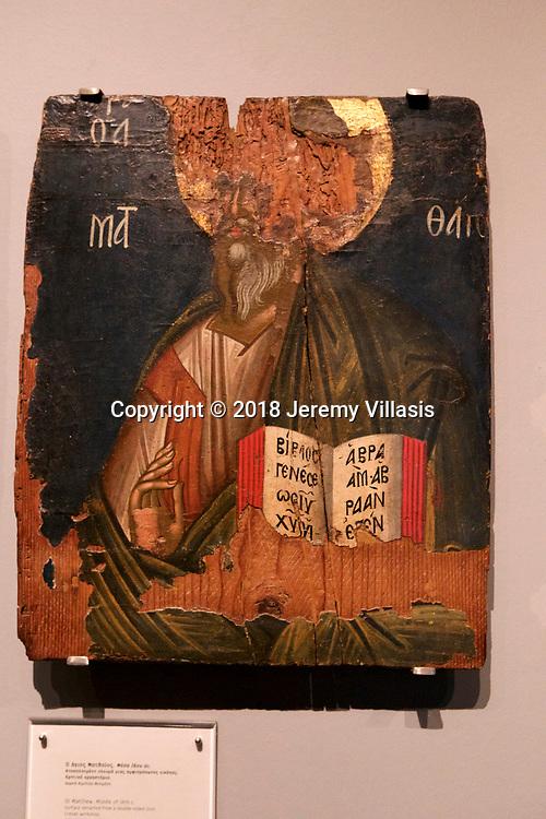 St. Matthew from a Cretan workshop. (Middle 16th century). Benaki Museum, Athens.