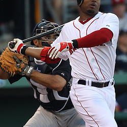 March 14, 2011; Fort Myers, FL, USA; Boston Red Sox left fielder Carl Crawford (13) strikes out during a spring training exhibition game against the New York Yankees at City of Palms Park.   Mandatory Credit: Derick E. Hingle