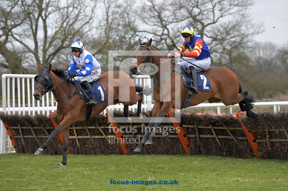 Rock Of Leon ridden by Nathan Moscrop (yellow cap) wins Wear A Hat Day Supporting braintumourresearch.org selling hurdle during the Wear A Hat Day meeting  at Wetherby Racecourse, West Yorkshire<br /> Picture by Martin Lynch/Focus Images Ltd 07501333150<br /> 29/03/2018