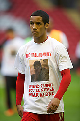 LIVERPOOL, ENGLAND - Thursday, May 5, 2011: Liverpool's Thomas Ince wears a tee-shirt paying tribute to Michael McNally before the FA Premiership Reserves League (Northern Division) match at Anfield. (Photo by David Rawcliffe/Propaganda)