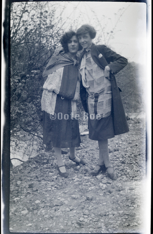 positive of fading negative of young adult women posing 1920s