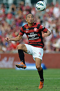 10.03.2013 Sydney, Australia. Wanderers Japanese midfielder Shinji Ono in action during the Hyundai A League game between Western Sydney Wanderers and Wellington Phoenix FC from the Parramatta Stadium. The Wanderers won 2-1.