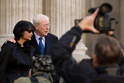 © Licensed to London News Pictures. 12/10/2012. LONDON, UK. Actor Sir Michael Caine is seen with his wife Shakira Caine as they talk to press after arriving at the memorial service for hairdresser Vidal Sassoon at St Paul's Cathedral in London today (12/10/12) . Photo credit: Matt Cetti-Roberts/LNP