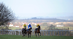 Runners take to a jump during the Bathwick Tyres Handicap Hurdle (Class 2) (4YO plus) - Photo mandatory by-line: Harry Trump/JMP - Mobile: 07966 386802 - 17/02/15 - SPORT - Equestrian - Horse Racing - Taunton Racecourse, Somerset, England.