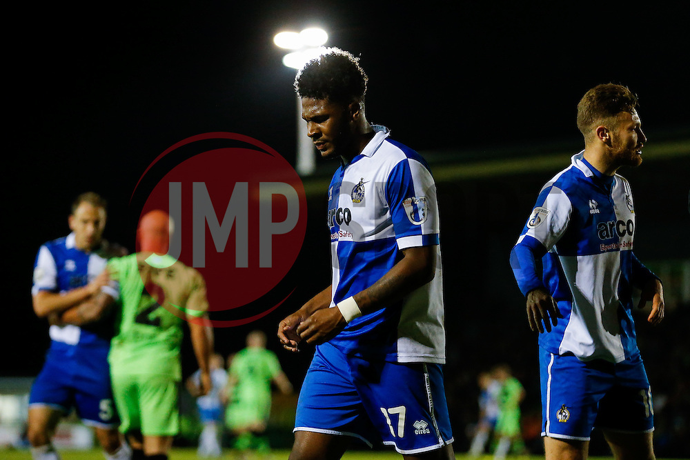 Ellis Harrison of Bristol Rovers looks dejected after being red carded (2nd yellow) by referee Lee Swabey for a collision with goalkeeper Steve Arnold of Forest Green Rovers - Photo mandatory by-line: Rogan Thomson/JMP - 07966 386802 - 29/04/2015 - SPORT - FOOTBALL - Nailsworth, England - The New Lawn - Forest Green Rovers v Bristol Rovers - Vanarama Conference Premier - Playoff Semi Final 1st Leg.