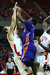 07 January 2012:  Lewis Jones commits and offensive fowl against Jordan Threloff while trapped by John Wilkins during an NCAA Missouri Valley Conference mens basketball game Where the Purple Aces of Evansville lost to the Illinois State Redbirds 75-73 in Redbird Arena, Normal IL