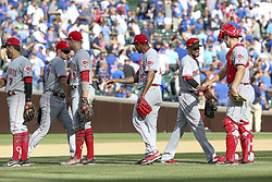 August 17, 2017 - Chicago, IL, USA - Cincinnati Reds players celebrate after a 13-10 win against the Chicago Cubs at Wrigley Field in Chicago on Thursday, Aug. 17, 2017. (Credit Image: © Armando L. Sanchez/TNS via ZUMA Wire)