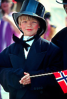 Boy dressed in costume for Constitution Day (Norwegian National Day), Bergen, Norway