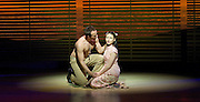Lincoln Center Theater production of Rodgers &amp; Hammerstein's<br /> <br /> South Pacific <br /> <br /> Directed by Bartlett Sher <br /> <br /> Musical Staging by Christopher Gattelli<br /> Sets by Michael Yeargan<br /> Lighting by Donald Holder<br /> Costumes by Catherine Zuber<br /> Sound by Scott Lehrer<br /> Music Direction by Ted Sperling<br /> Original Orchestrations by Robert Russell Bennett<br /> <br /> at The Barbican Theatre, London, Great Britain <br /> <br /> 22nd August 2011 <br /> <br /> <br /> Daniel Koek (as Joseph Cable)<br /> Elizabeth Chong (as Liat)<br /> <br /> Photograph by Elliott Franks