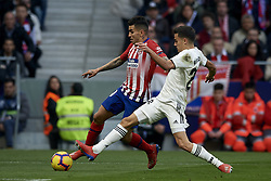February 9, 2019 - Madrid, Madrid, Spain - Angel Correa of Atletico Madrid  and Sergio Reguilon of Real Madrid during the week 23 of La Liga between Atletico Madrid and Real Madrid at Wanda Metropolitano stadium on February 09 2019, in Madrid, Spain. (Credit Image: © Jose Breton/NurPhoto via ZUMA Press)