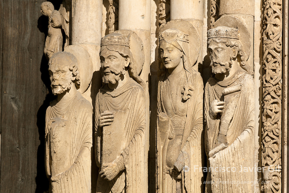 Statues in the cathedral of Chartres,  Eure-et-Loir, centre-val de loire, France