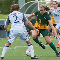 2nd year forward Kirsten Finley (2) of the Regina Cougars dribbles the ball during the Women's Soccer home game on September 11 at U of R Field. Credit: Arthur Ward/Arthur Images