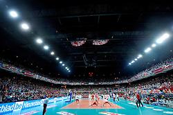 12-02-2012 VOLLEYBAL: BEKERFINALE EUPHONY ASSE LENNIK - NOLIKO MAASEIK: ANTWERPEN<br /> Noliko Maaseik wint vrij eenvoudig de beker van Belgie. In de finale waren zij met 25-21 25-18 en 25-19 te sterk voor Asse Lennik / Stadion, support hal, sfeer<br /> ©2012-FotoHoogendoorn.nl