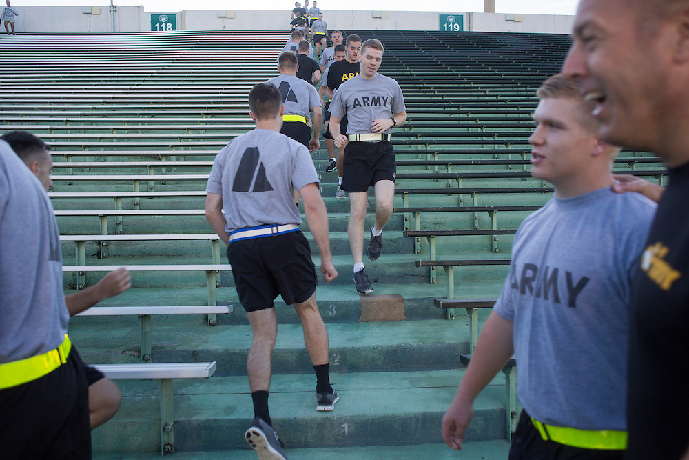 Cadets in Ohio University's Bobcat Battalion as well as Athens residents participate in the second annual 9/11 Stair Challenge Event at Peden Stadium on Sept. 11, 2016. The 2,071 steps that participants ran or walked represented the 2,071 steps in one of the World Trade Center's Twin Towers.