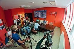Anze Kopitar at Anze Kopitar Press Conference before going back to Los Angeles for the start of NHL League, on August 28, 2011, in Dvorana Podmezaklja, Jesenice, Slovenia. (Photo by Matic Klansek Velej / Sportida)