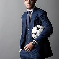 Álvaro Morata, ex jugado del Real Madrid y actual delantero de la Juventus en la satreria Absolute Bespoke.<br /> Aravaca, Madrid.