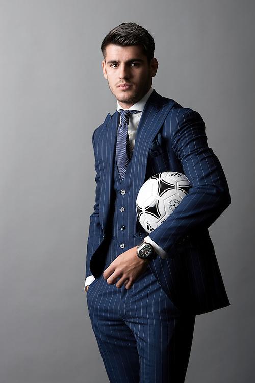 &Aacute;lvaro Morata, ex jugado del Real Madrid y actual delantero de la Juventus en la satreria Absolute Bespoke.<br /> Aravaca, Madrid.